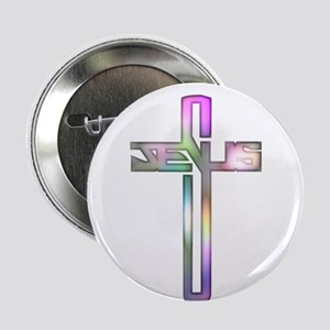 "Colorful Jesus Cross 2.25"" Button"