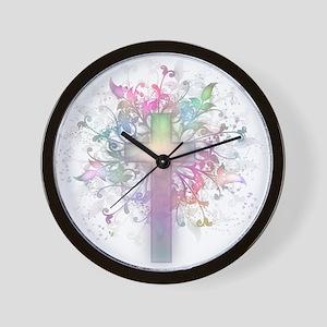 Pastel Floral Cross Wall Clock