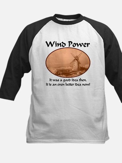 Wind Power Then & Now Kids Baseball Jersey