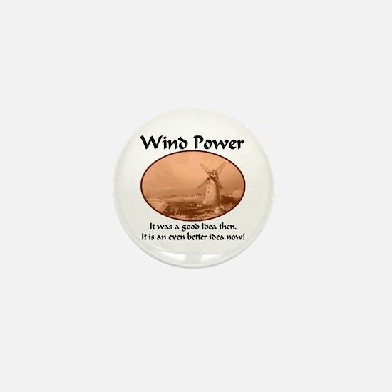 Wind Power Then & Now Mini Button