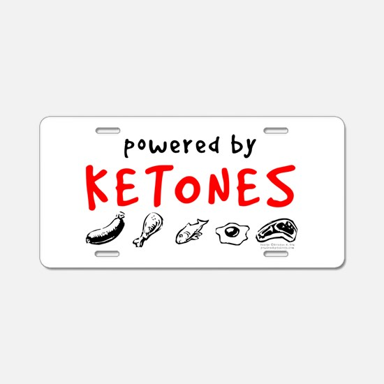 Powered By Ketones Aluminum License Plate