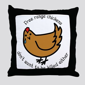 Free Range Chickens Vegan/Vegetarian Throw Pillow