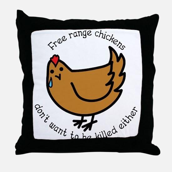 Free Range Chickens Vegan/Vegetarian Throw Pillow