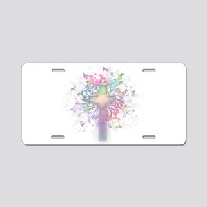 Rainbow Floral Cross Aluminum License Plate