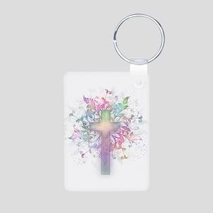 Rainbow Floral Cross Aluminum Photo Keychain