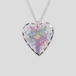 Rainbow Floral Cross Necklace Heart Charm