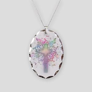 Rainbow Floral Cross Necklace Oval Charm