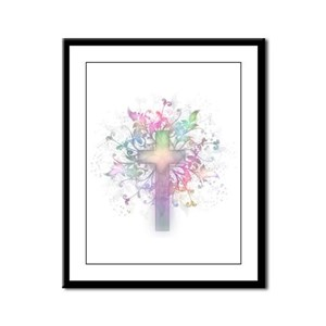Rainbow Floral Cross Framed Panel Print