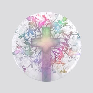 "Rainbow Floral Cross 3.5"" Button"