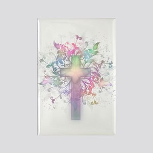 Rainbow Floral Cross Rectangle Magnet