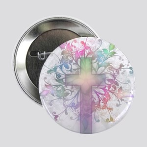 "Rainbow Floral Cross 2.25"" Button"