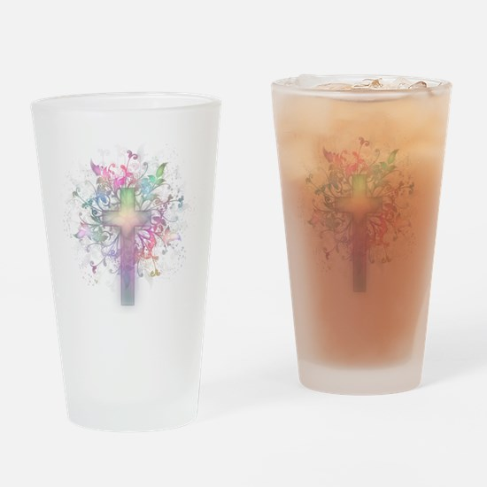 Rainbow Floral Cross Drinking Glass