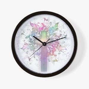 Rainbow Floral Cross Wall Clock