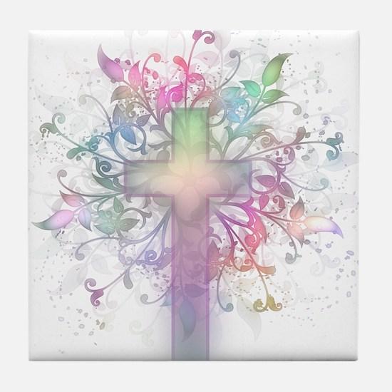 Rainbow Floral Cross Tile Coaster