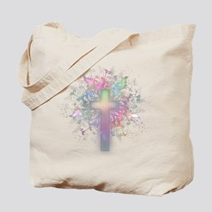 Rainbow Floral Cross Tote Bag