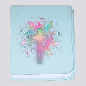 Rainbow Floral Cross baby blanket