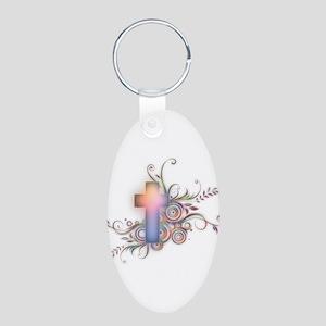 Swirls N Cross Aluminum Oval Keychain