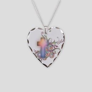 Swirls N Cross Necklace Heart Charm
