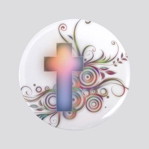 "Swirls N Cross 3.5"" Button"