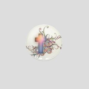 Swirls N Cross Mini Button