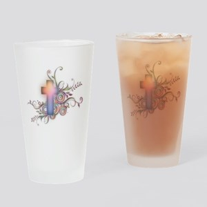 Swirls N Cross Drinking Glass