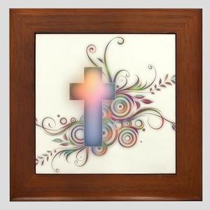 Swirls N Cross Framed Tile