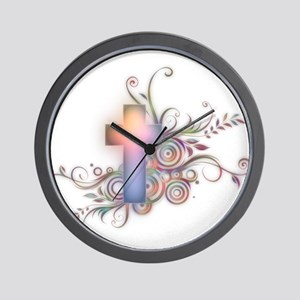 Swirls N Cross Wall Clock
