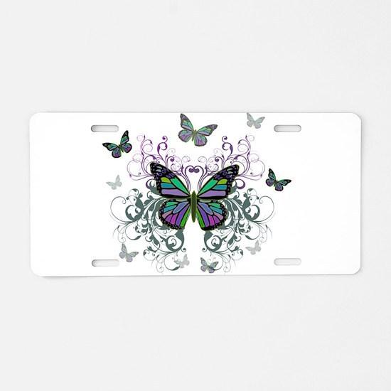 MultiColored Butterflies Aluminum License Plate