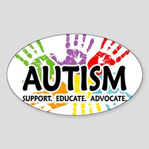 Autism:Handprint Sticker (Oval)