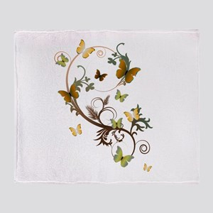 Earthtone Butterflies Throw Blanket