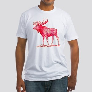 lexicon graphic pink moose Fitted T-Shirt