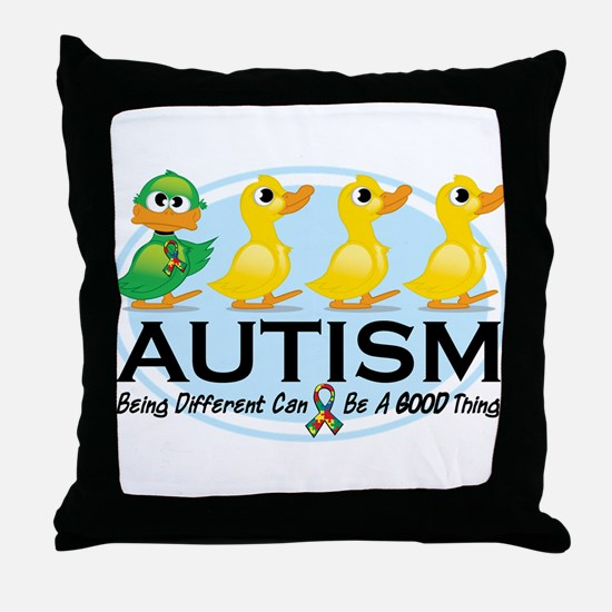 Autism Ugly Duckling Throw Pillow