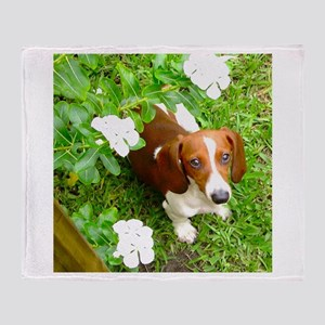 Doxie Flowers Throw Blanket