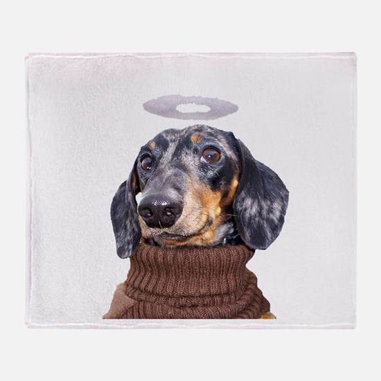 Angel Spotted Doxie Throw Blanket