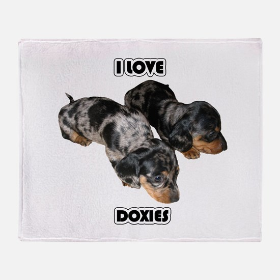 I Love Doxies Throw Blanket