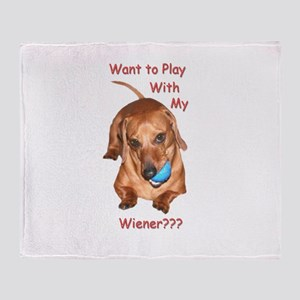 Play With My Wiener Dog Throw Blanket