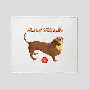 Wiener with Balls Throw Blanket