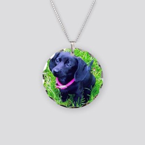 Black Puppy Necklace Circle Charm