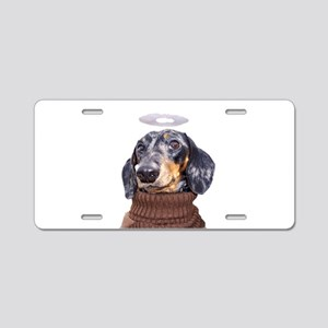 Angel Spotted Doxie Aluminum License Plate