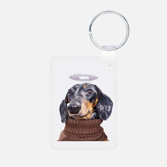 Angel Spotted Doxie Aluminum Photo Keychain