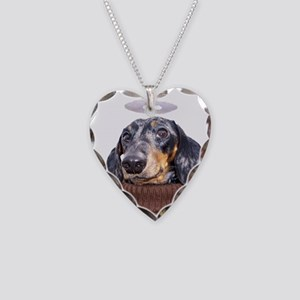 Angel Spotted Doxie Necklace Heart Charm
