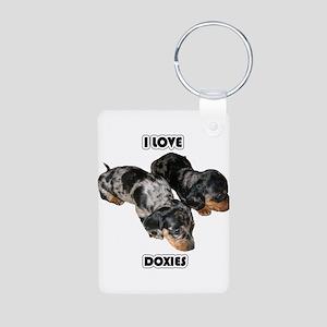 I Love Doxies Aluminum Photo Keychain