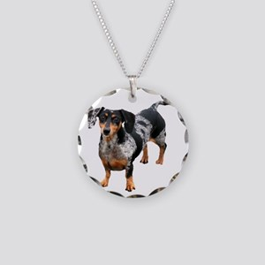 Spotted Doxie Necklace Circle Charm