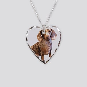Spotty Dachshund Dog Necklace Heart Charm