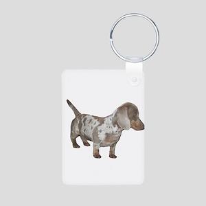 Speckled Dachshund Dog Aluminum Photo Keychain
