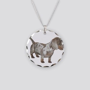 Speckled Dachshund Dog Necklace Circle Charm