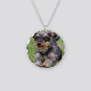 Black Wirehair Necklace Circle Charm