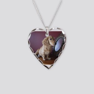 Cream Doxie Necklace Heart Charm