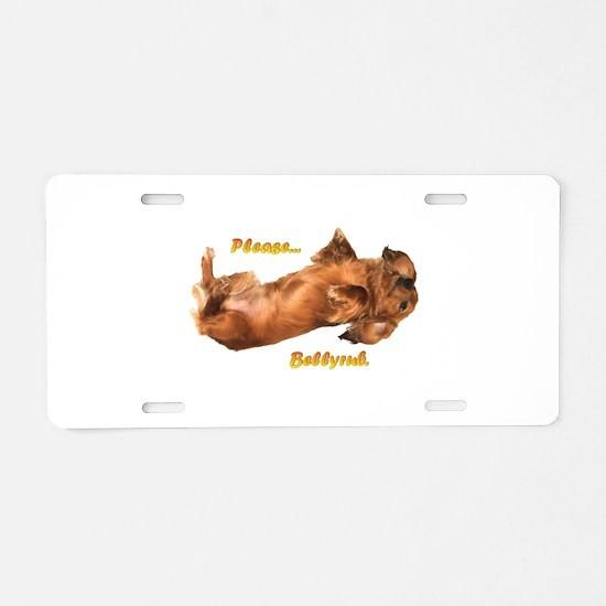 Bellyrub Doxie Aluminum License Plate
