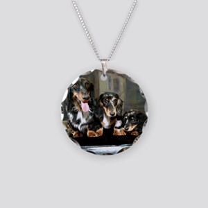 Doxies Long Hair Necklace Circle Charm